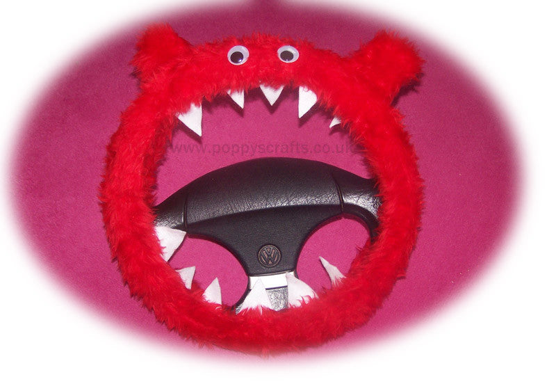 Fuzzy faux fur Red Monster steering wheel cover with googly eyes, ears, and teeth. fluffy furry car fun - Poppys Crafts