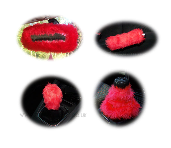 Racing Red fluffy faux fur car accessories 4 piece set - Poppys Crafts