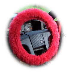 Fluffy Racing Red Car Steering Wheel Cover & Matching Fuzzy Faux Fur Seatbelt Pad Set
