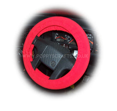 Racing Red fleece Car Steering wheel cover & matching fleece seatbelt pad set - Poppys Crafts