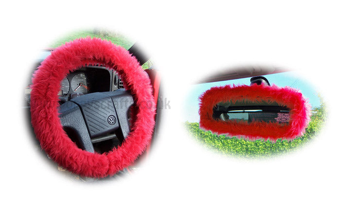 Red fuzzy steering wheel cover with cute matching rear view mirror cover - Poppys Crafts