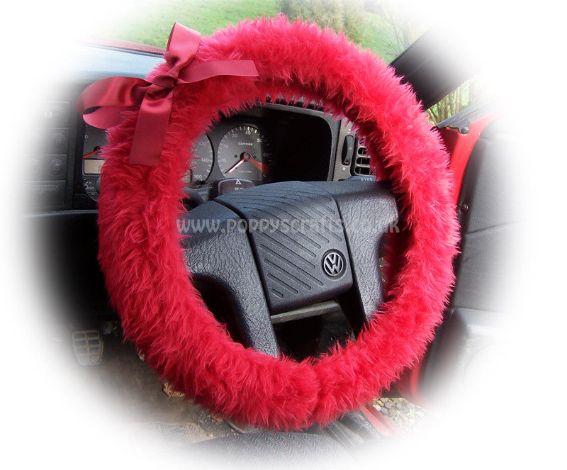 Racing red fluffy faux fur car steering wheel cover with red satin Bow - Poppys Crafts
