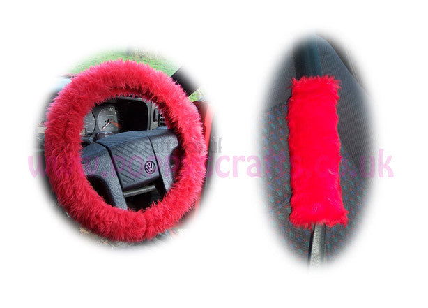 Fluffy Racing Red Car Steering wheel cover & matching fuzzy faux fur seatbelt pad set - Poppys Crafts