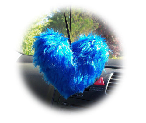 Pretty Royal Blue Fluffy heart hanging