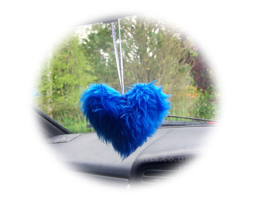Pretty Royal Blue Fluffy heart hanging - Poppys Crafts