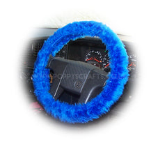 Royal Blue Fuzzy Car Steering wheel cover & matching faux fur seatbelt pad set - Poppys Crafts