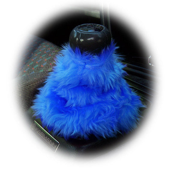 Royal Blue fluffy fuzzy gear stick gaiter cover - Poppys Crafts