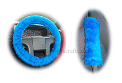Royal Blue Fuzzy Car Steering Wheel Cover & Matching Faux Fur Seatbelt Pad Set
