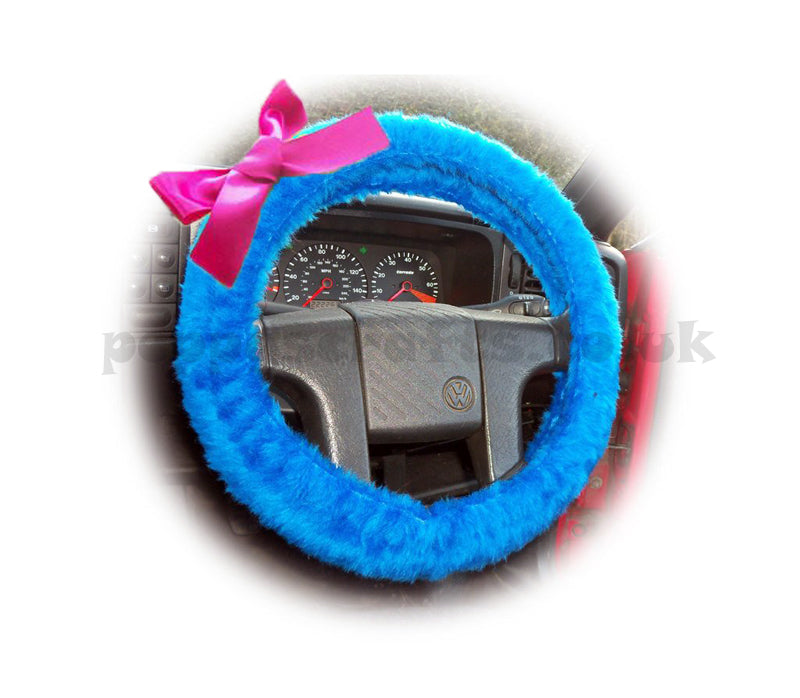 Royal Blue fuzzy car steering wheel cover faux fur with Barbie Pink satin Bow cute and fluffy - Poppys Crafts