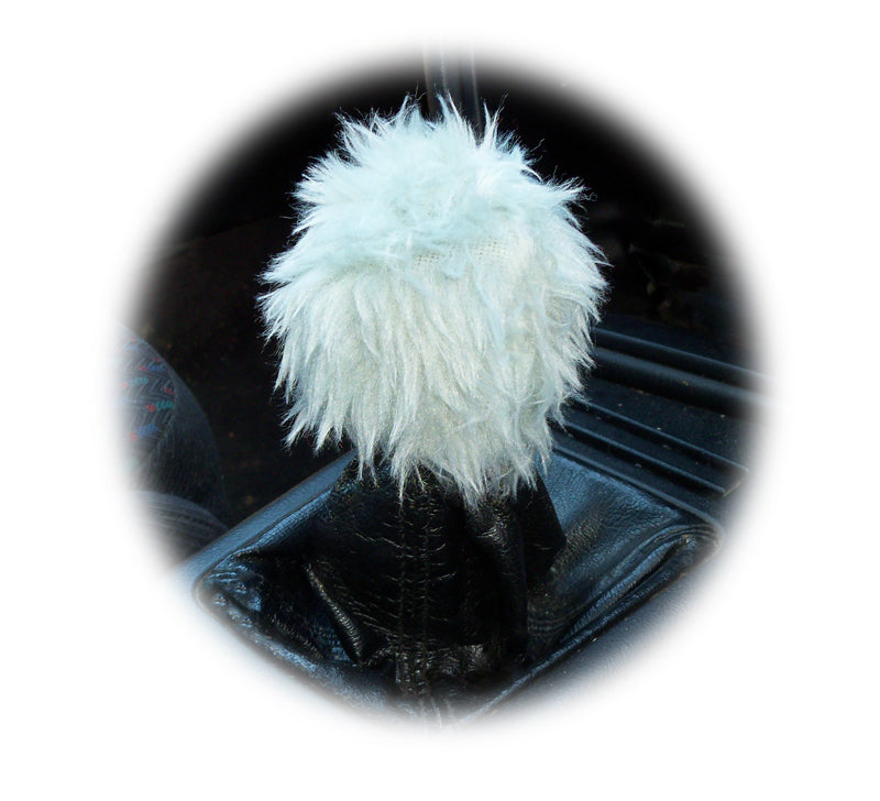 Light Silver Grey faux fur gearknob stick shift cover - Poppys Crafts