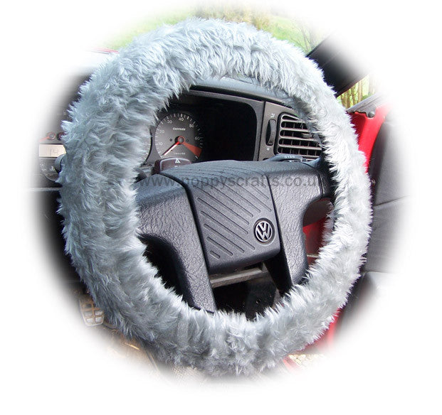Light Silver Grey Fuzzy faux fur car steering wheel cover - Poppys Crafts