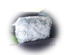 Silver Grey fluffy faux fur car headrest covers 1 pair