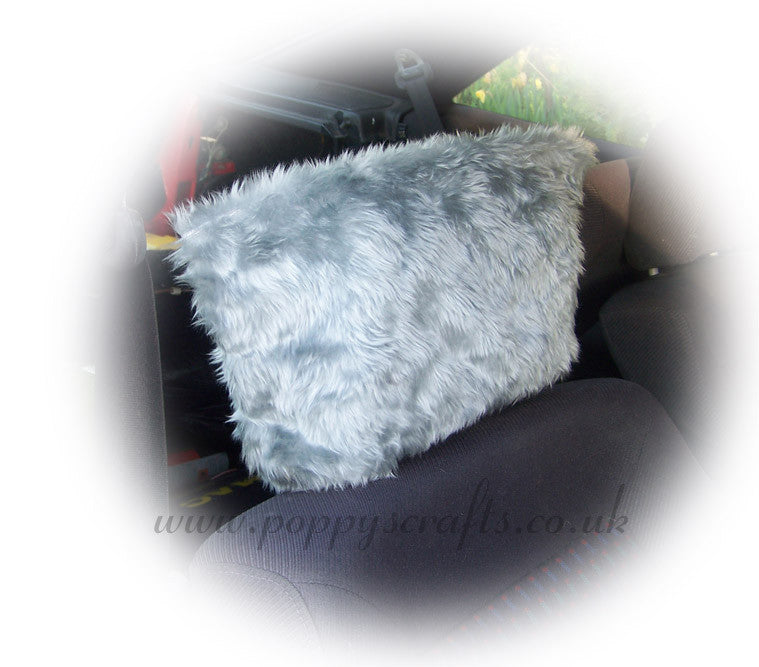 Silver Grey fluffy faux fur car headrest covers 1 pair - Poppys Crafts