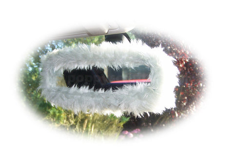 Pretty fluffy light grey silver faux fur rear view mirror cover cute fuzzy and furry