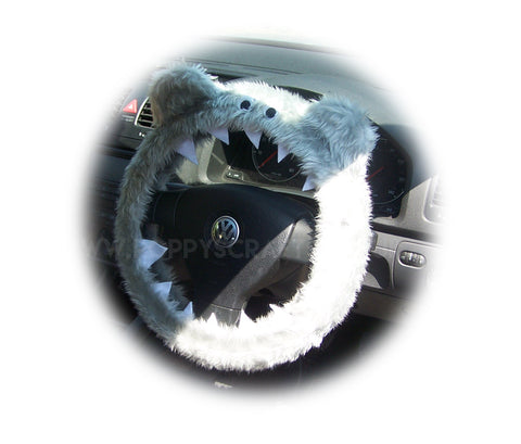 Light Silver Grey faux fur fuzzy Monster car steering wheel cover