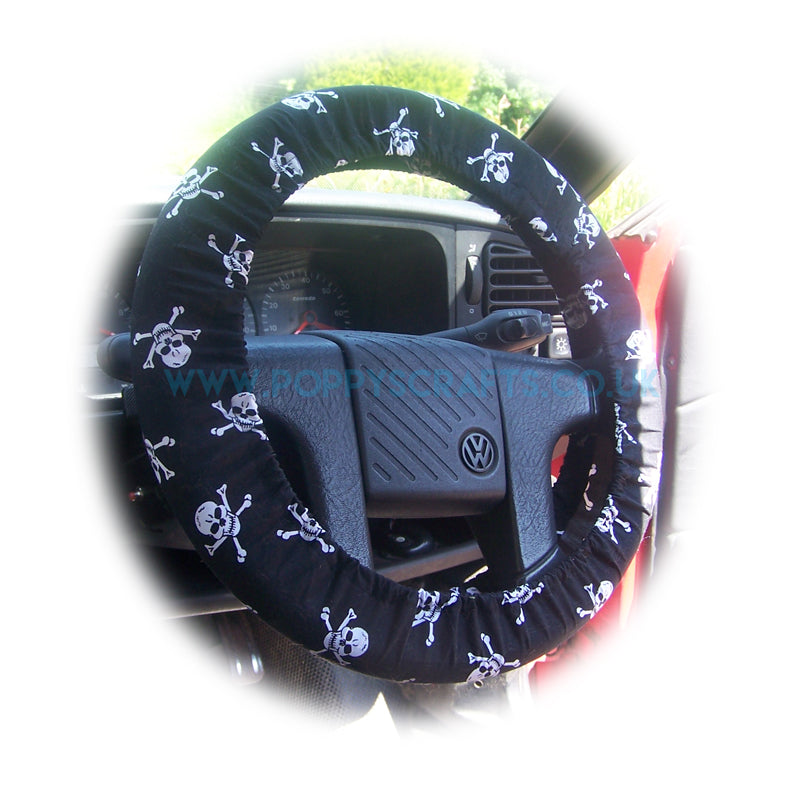 Skull and crossbones print Cotton car steering wheel cover - Poppys Crafts
