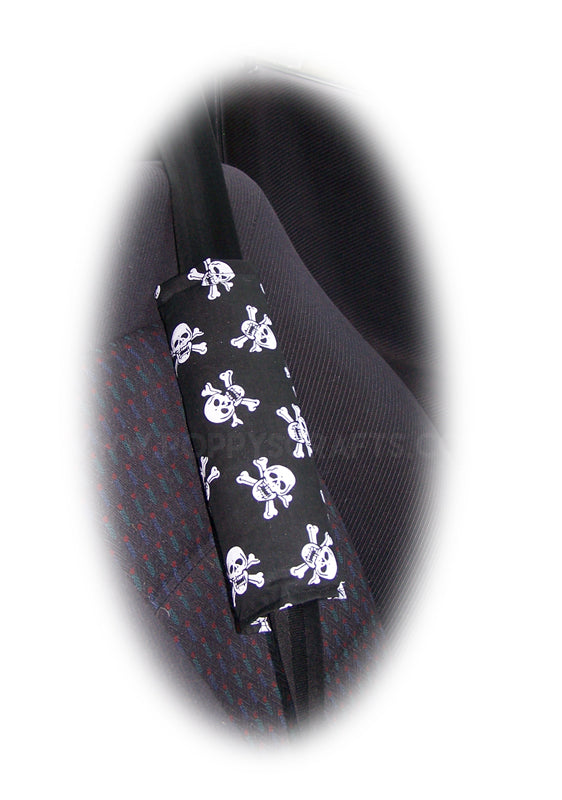 Black and White skull and crossbones print cotton seatbelt pads 1 pair - Poppys Crafts