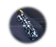 Snow Leopard print faux fur car seatbelt pads 1 pair - Poppys Crafts