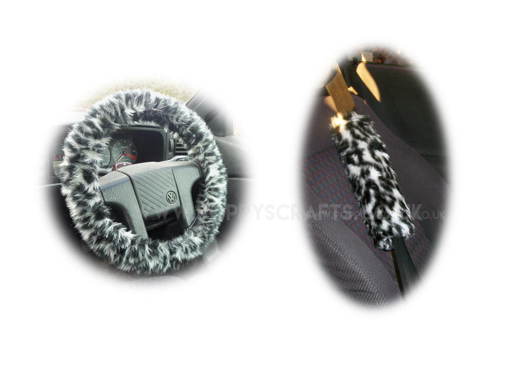 Snow Leopard fuzzy Steering wheel cover & matching faux fur seatbelt pad set - Poppys Crafts