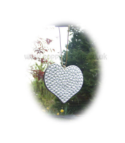 Pretty Silver sparkly gem heart mirror hanging - Poppys Crafts