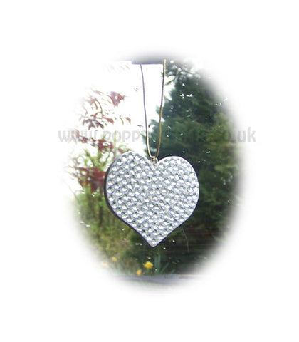Pretty Silver sparkly gem heart mirror hanging