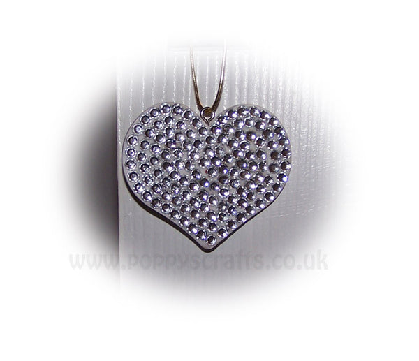 Pretty Silver Sparkly Gem Heart Mirror Hanging Bling Car