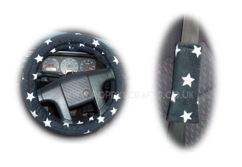 Black and White Star Print fleece Steering wheel cover & matching seatbelt pad set - Poppys Crafts