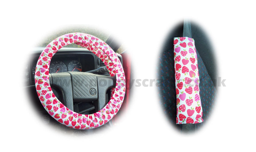 Strawberry surprise cotton Car Steering wheel cover & matching seatbelt pad set - Poppys Crafts
