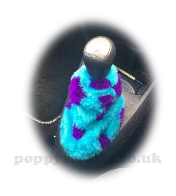 Sully Monster spot print faux fur fluffy gear stick gaiter cover - Poppys Crafts