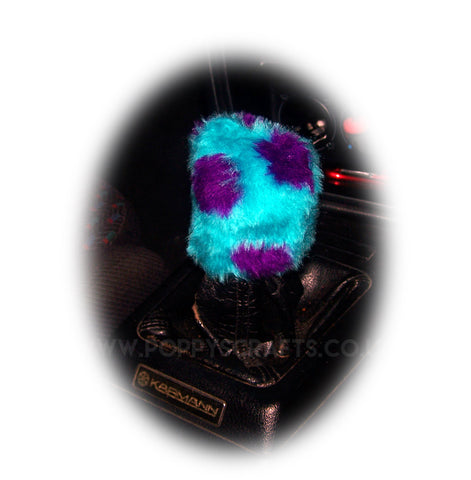Fuzzy faux fur Spotty Monster print Gearknob cover cute