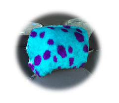 Spotty turquoise and purple spot monster dino headrest covers faux fur - Poppys Crafts