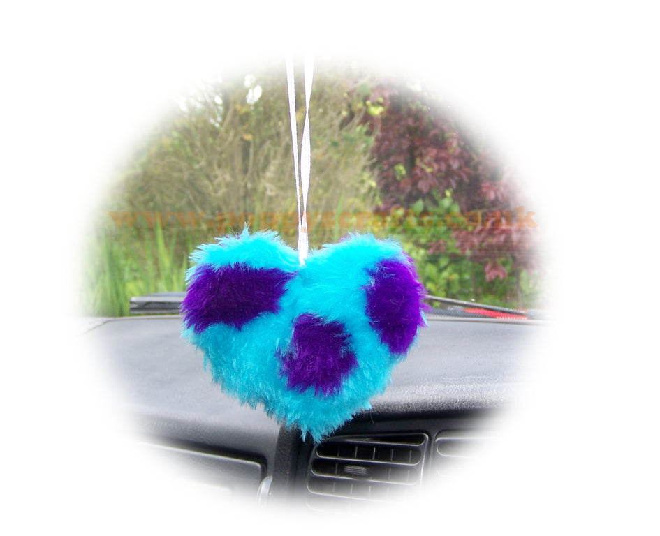 Cute Spotty Monster Sully Fluffy heart hanging - Poppys Crafts