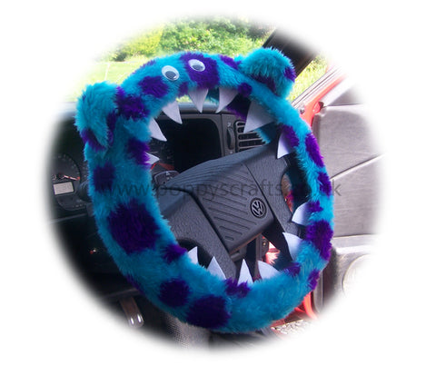 Cute Fuzzy faux fur Spotty Monster car steering wheel cover