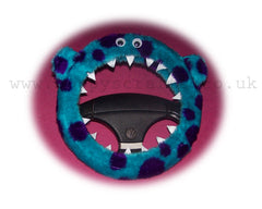 Cute Fuzzy faux fur Sully Monster car steering wheel cover - Poppys Crafts