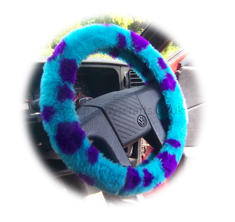 Spotty Sully Monster fuzzy faux fur car steering wheel cover - Poppys Crafts