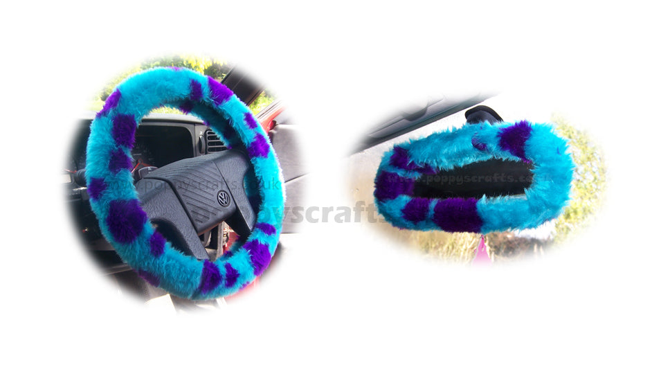 Sully Monster spot fuzzy steering wheel cover with cute matching rear view interior mirror cover - Poppys Crafts