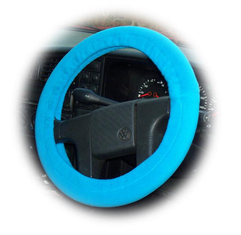 Turquoise / Teal fleece car steering wheel cover