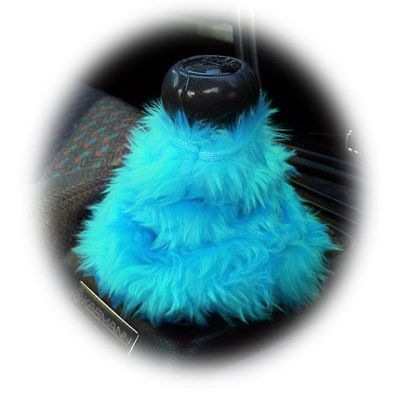 Turquoise Teal fluffy fuzzy gear stick gaiter cover - Poppys Crafts