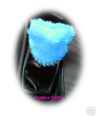 Fuzzy faux fur Turquoise / Teal Gearknob cover cute - Poppys Crafts