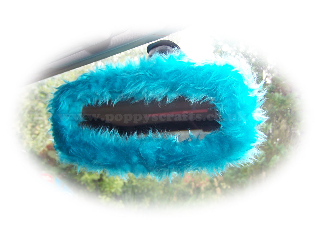 Turquoise / Teal fuzzy rear view interior car mirror cover - Poppys Crafts