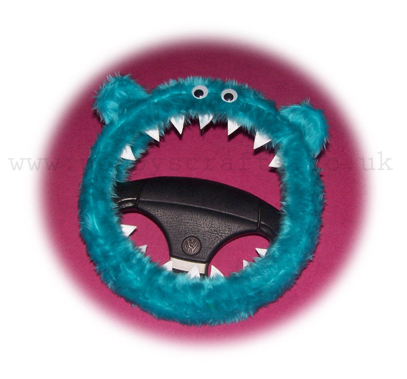 Turquoise / Teal Fuzzy monster car steering wheel cover - Poppys Crafts