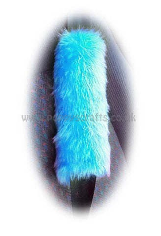 1 pair of gorgeous fuzzy Turquoise Teal faux fur car seatbelt pads furry and fluffy