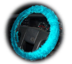 Gorgeous Teal Turquoise Car Steering wheel cover & matching fuzzy faux fur seatbelt pad set - Poppys Crafts