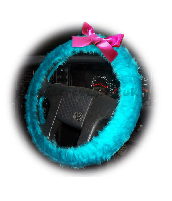 Turquoise / Teal fuzzy car steering wheel cover faux fur with Barbie Pink satin Bow cute and fluffy - Poppys Crafts