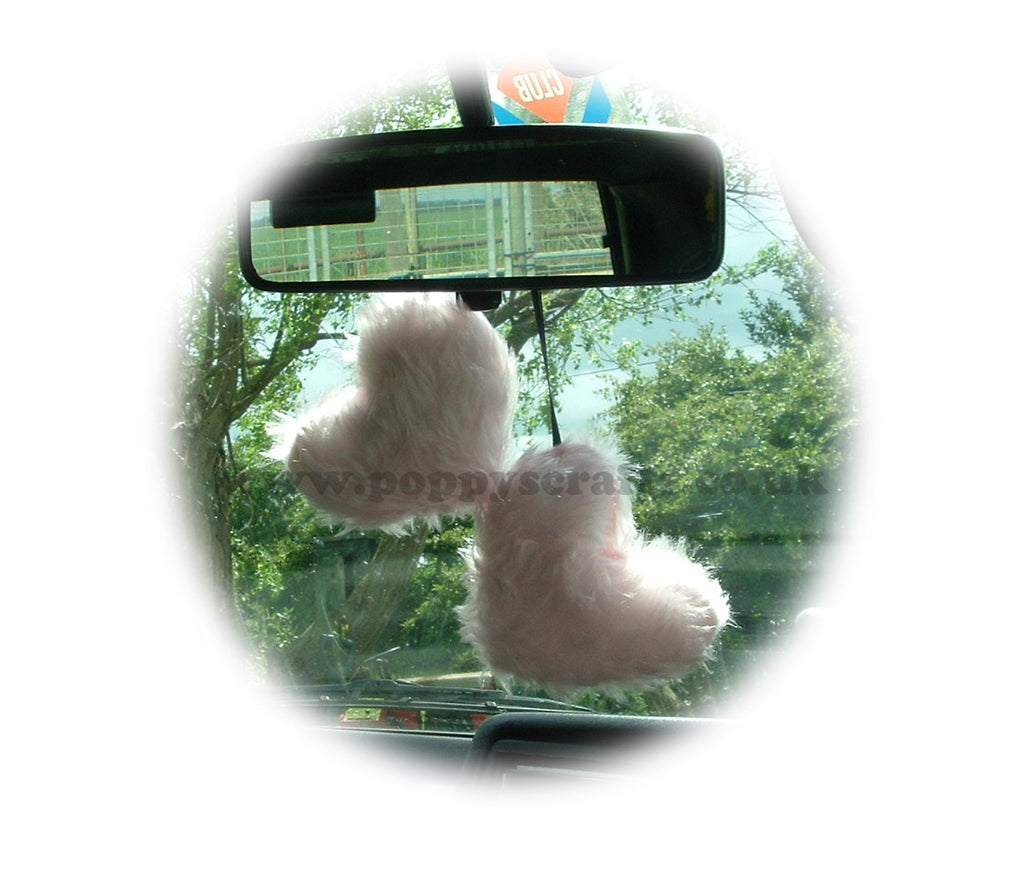 Cute Baby Pink twin hearts Fluffy faux fur car / home hanging - Poppys Crafts