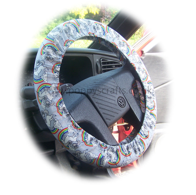 Unicorn's and Rainbow's on Grey cotton car steering wheel cover - Poppys Crafts