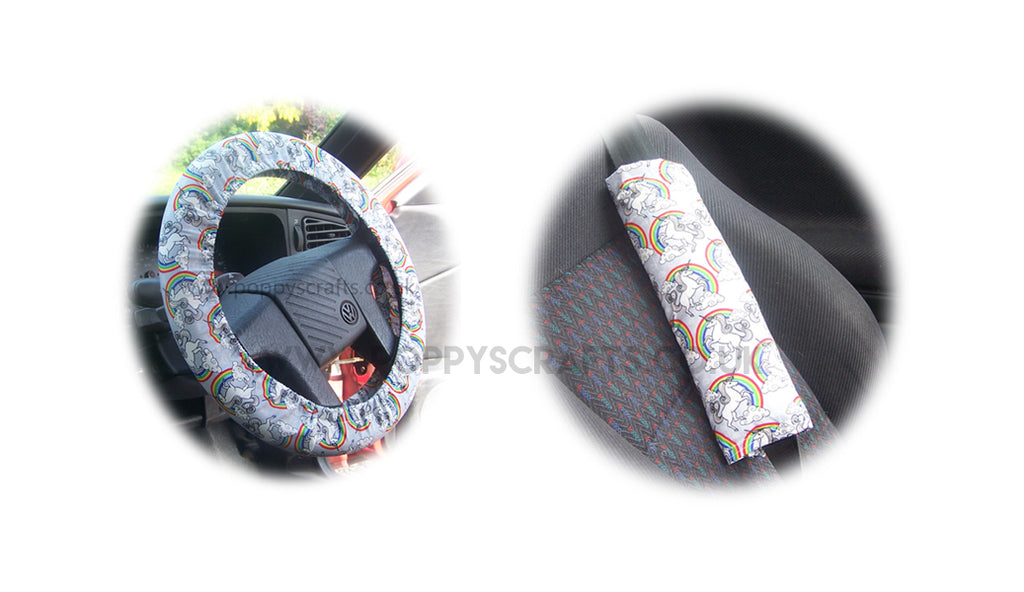 Unicorn and Rainbow cotton Car Steering wheel cover & matching seatbelt pad set - Poppys Crafts