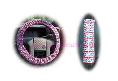 Union Jack Flag Cotton Car Steering Wheel Cover & Matching Seatbelt Pad Set