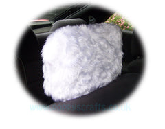1 pair of Plain furry faux fur fluffy fuzzy plain car seat headrest covers choice of colour color pink black red yellow blue orange white - Poppys Crafts