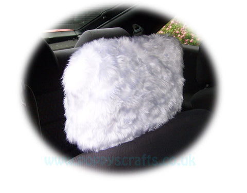 Fluffy White faux fur car headrest covers 1 pair
